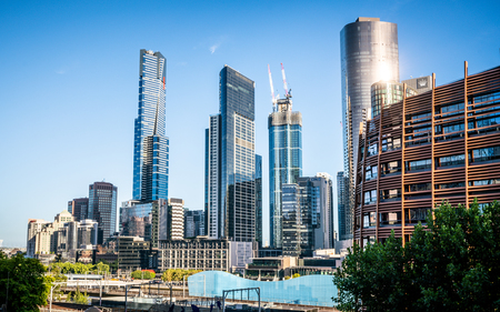 2nd January 2019, Melbourne Australia : Melbourne southbank skyline during day time and blue sky in Melbourne Australia