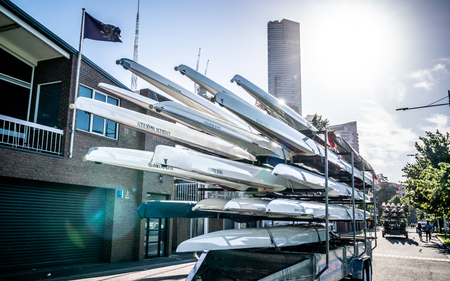 2nd January 2019, Melbourne Australia : Rack of racing shell rowing boats in the street in front of the Melbourne rowing club on Yarra riverbank in Melbourne Victoria Australia 報道画像