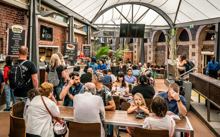 3rd January 2019, Melbourne Victoria Australia : View of the food court area full of people at the Queen Victoria Market in Melbourne Australia