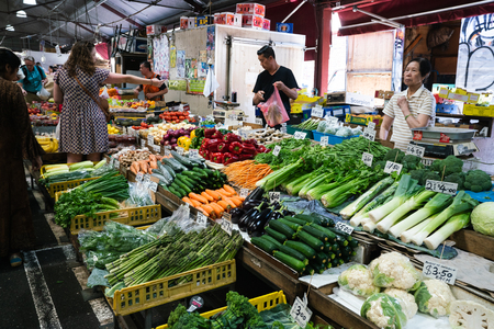 3rd January 2019, Melbourne Victoria Australia : Vegetables shop at Queen Victoria Market in Melbourne Australia 報道画像