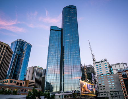 2nd January 2019, Melbourne Australia : View of the Rialto towers building at dusk an office skyscraper in Melbourne Australia 報道画像