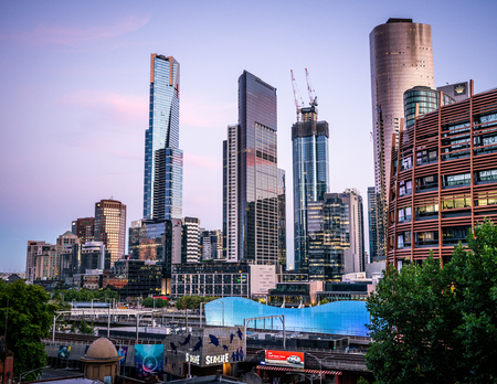 2nd January 2019, Melbourne Australia : Melbourne southbank skyline at dusk with the Eureka tower in Melbourne Australia
