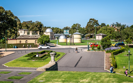 2nd January 2019, Melbourne Australia : distant view of the Melbourne Observatory and entrance to the Royal Botanical gardens in Melbourne Victoria Australia