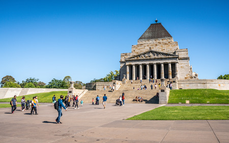 2nd January 2019, Melbourne Australia : View of the Shrine of Remembrance with people and tourists in Melbourne Victoria Australia