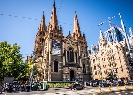 2nd January 2019, Melbourne Australia : Street view of the facade of St Pauls Cathedral an Anglican Gothic Revival church in Melbourne Victoria Australia