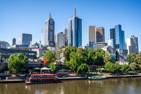 2nd January 2019, Melbourne Australia : Yarra river and federation square wharf in central Melbourne and Melbourne CBD skyline in Victoria Australia