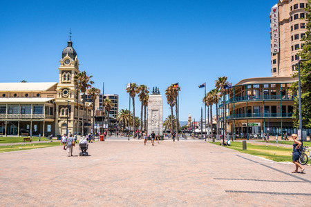 31st December 2018 , Glenelg Adelaide South Australia : Glenelg Moseley square view from the jetty with the Pioneer Memorial monument in the middle in Glenelg SA Australia