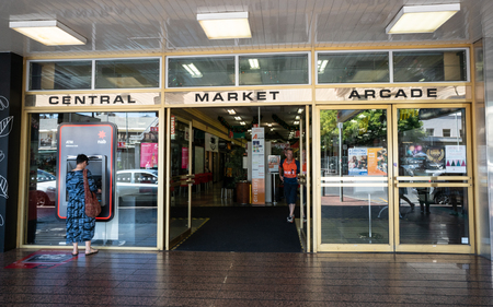 31st December 2018 , Adelaide South Australia : Entrance of the central market arcade with people and name written in Adelaide SA Australia