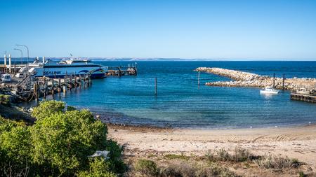 1st January 2019, Cape Jervis South Australia : Sealink boat harbour view and Kangaroo island ferry at Cape Jervis headland in SA Australia