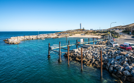 1st January 2019, Cape Jervis South Australia : Cape Jervis headland panorama with the boat harbour and Cape Jervis lighthouse in SA Australia