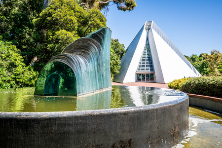 31st December 2018, Adelaide South Australia : Adelaide botanic garden Bicentennial Conservatory building and the Cascade glass sculpture by Sergio Redegalli in Adelaide SA Australia