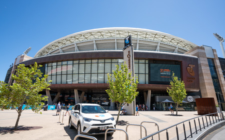 31st December 2018, Adelaide South Australia : Front view of Adelaide Oval sports ground and Telstra plaza in Adelaide SA Australia
