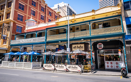 31st December 2018, Adelaide South Australia : Historic Victorian buildings on Hindley street now turned into restaurants and kebad house in Adelaide SA Australia