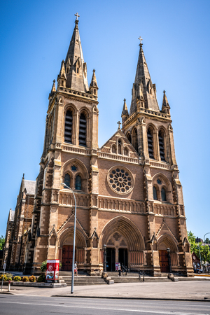 31st December 2018, Adelaide South Australia : Front vertical view of St. Peters Cathedral facade an Anglican cathedral church in Adelaide SA Australia