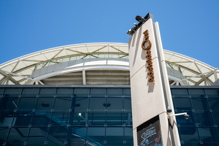 31st December 2018, Adelaide South Australia : Adelaide Oval sports ground stadium front view with sign and logo close-up in Adelaide SA Australia