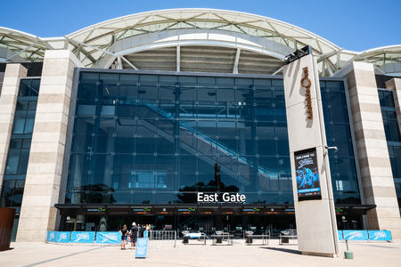 31st December 2018, Adelaide South Australia : Adelaide Oval sports ground stadium front view on east side with sign in Adelaide SA Australia 写真素材 - 119558114