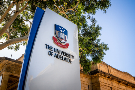 30th December 2018, Adelaide South Australia : Sign of the entrance of Adelaide University with logo in Adelaide SA Australia