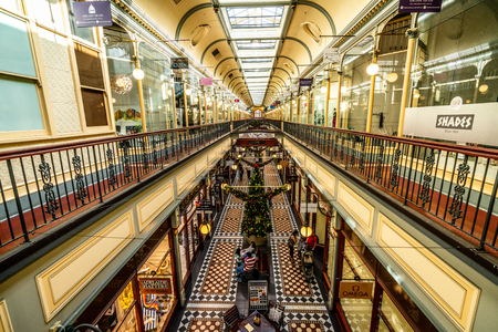 30th December 2018, Adelaide South Australia : Interior view of Adelaide arcade an heritage shopping arcade in the centre of Adelaide SA Australia 報道画像