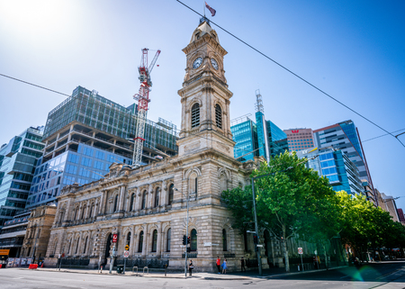 30th December 2018, Adelaide South Australia : Street view of the former General Post Office building a colonial heritage building at Victoria Square in Adelaide SA Australia 報道画像