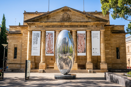 30th December 2018, Adelaide South Australia : Facade and main entrance view of the building of the Art Gallery of South Australia AGSA in Adelaide SA Australia