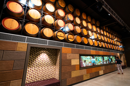 31st December 2018, Adelaide South Australia : Interior view of the National Wine Centre of Australia with wine barrels display and tourist in Adelaide SA Australia 報道画像
