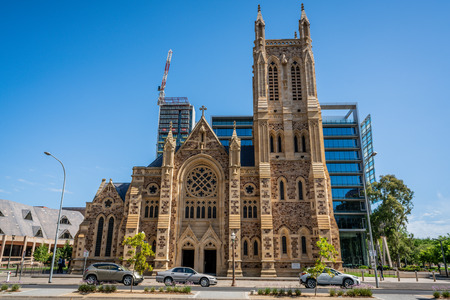 30th December 2018, Adelaide South Australia : Side view of the St Francis Xaviers Cathedral a Roman a Latin Catholic Church in Adelaide SA Australia