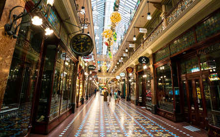 6th January 2019, Sydney NSW Australia : Inside view of the Strand shopping arcade in Sydney Australia 報道画像