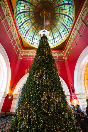 23rd December 2018, Sydney NSW Australia : Huge Christmas tree inside the Queen Victoria Building or QVB in Sydney NSW Australia
