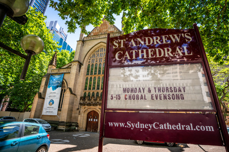 23rd December 2018, Sydney NSW Australia : Church sign in front of St Andrews Cathedral an Anglican church in Sydney NSW Australia 報道画像