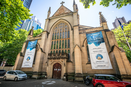 23rd December 2018, Sydney NSW Australia : Front view of St Andrews Cathedral an Anglican church in Sydney NSW Australia
