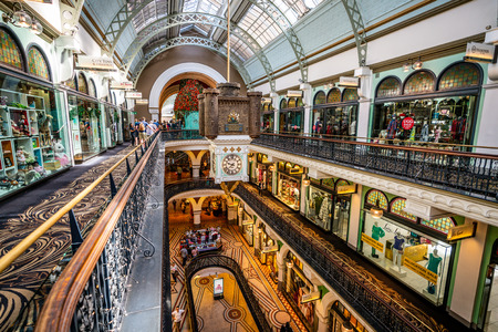 23rd December 2018, Sydney NSW Australia : Interior view of Queen Victoria Building or QVB shoppping arcade with the famous Royal clock in Sydney NSW Australia