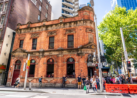 23rd December 2018, Sydney NSW Australia : Former Bank of Australia heritage building on George street now turned into a pub named the 3 wise monkeys 報道画像