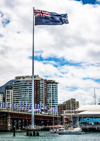 22nd December 2018, Sydney NSW Australia : Vertical view of the giant Australian flag in Sydney Darling Harbour in NSW Australia
