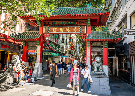 23rd December 2018, Sydney NSW Australia : Chinese entrance gate of Sydney Chinatown in NSW Australia 報道画像