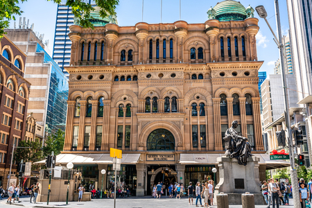 23rd December 2018, Sydney NSW Australia : Facade view of the Queen Victoria Building or QVB with people in Sydney NSW Australia