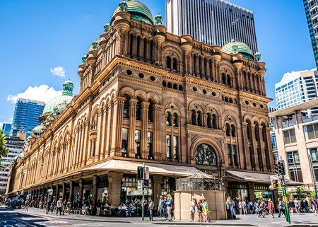 23rd December 2018, Sydney NSW Australia : Wide angle view of the Queen Victoria Building or QVB including the facade in Sydney NSW Australia