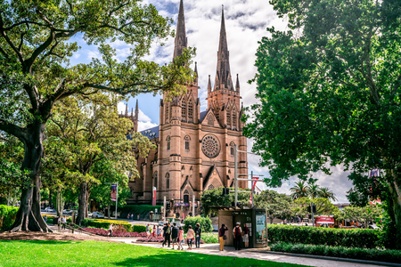 23rd December 2018, Sydney NSW Australia : Facade view of St. Marys Cathedral from Hyde park with trees framing the building in Sydney NSW Australia 報道画像
