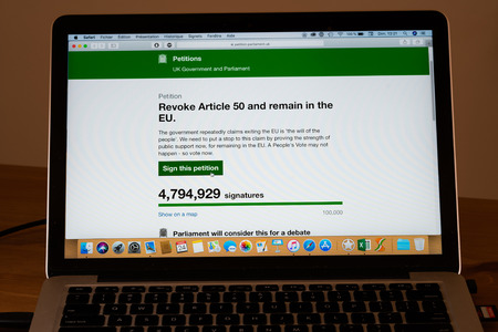 London UK, 24th March 2019: Brexit petition on UK parliament website to revoke article 50 and remain in the EU almost reach 5 millions signatures