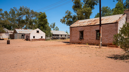 Landscape view of old Hermannsburg historic precinct in NT outback Australia
