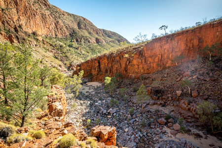 Bottom landscape view of Ormiston gorge in the West MacDonnell Ranges and cliffs in NT outback Australia 写真素材