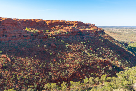 Kings canyon panorama showing red rocks and sandstone domes during the Rim walk in NT outback Australia 写真素材 - 123338345