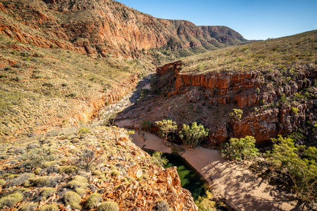 Top scenic panorama of Ormiston gorge in the West MacDonnell Ranges in NT outback Australia