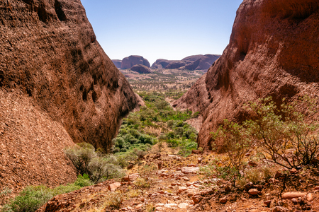 Landscape panorama from the Karingana lookout in the Olgas in NT outback Australia