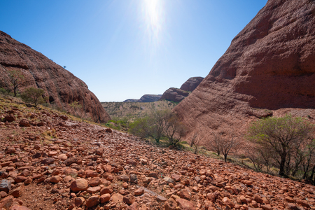 Landscape panorama from the Karu lookout in the Olgas in NT outback Australia 写真素材 - 123338581