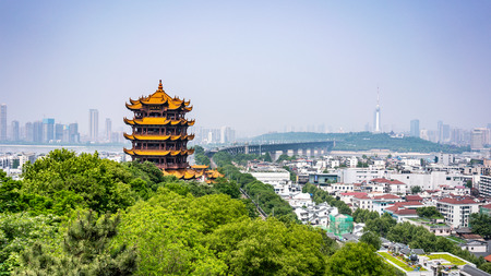 Scenic view of the Yellow crane tower and Yangtze Great bridge the emblematic landmark of Wuhan Hubei China 写真素材