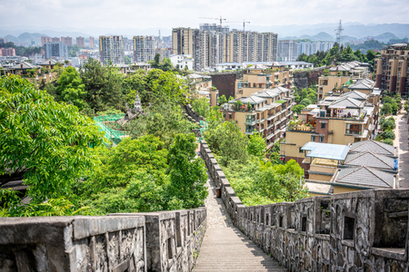 Enshi cityscape from the rampart of the Tusi ancient city in Enshi Hubei China 写真素材 - 123338644