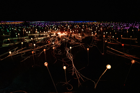Field of light at night with multicolor lights in NT Australia Stok Fotoğraf