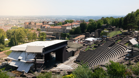 Ancient Roman theatre in Lyon with concert stage with beautiful scenery in Lyon France 写真素材 - 123339784