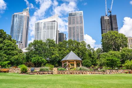 Gazebo in Sydney Royal botanic garden in front of Sydney buildings skyline in NSW Australia