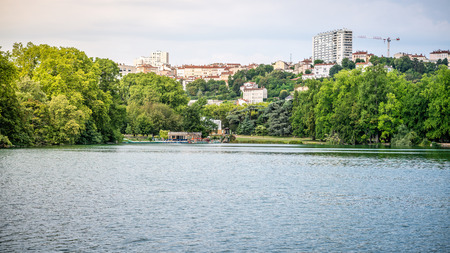 Lake view scenery in the Park of the Golden Head aka Parc de la Tete dor in Lyon France